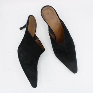 Donald J Pliner Black Suede Heels Mules 6.5 M